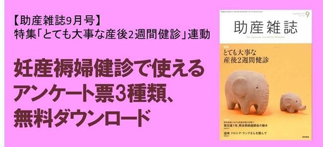 【助産雑誌9月号特集連動】妊産褥婦健診のためのアンケート票